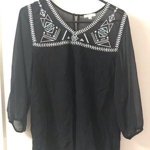 Black sheer KORI America blouse, size medium